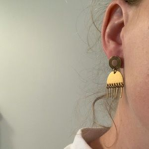 Pink and Gold Fringe Madewell Earrings